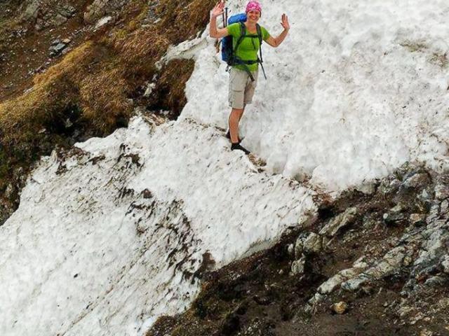 Prechod cez snehový zráz, pre mňa psychicky najexponovanejšie miesto